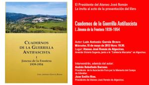 Invitación para la presentación del libro.