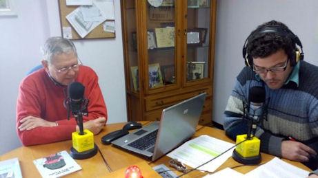 Bartolomé Pérez Sánchez de Medina y David Sierra, en Radio Ubrique.