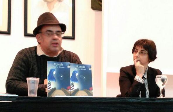 Juan Emilio Ríos y Natalia Viaga, en el Ateneo de Algeciras.