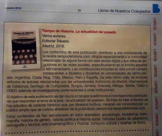 Reseña de Tiempo de Historia en el Boletín del Colegio de Doctores y Licenciados de Madrid.