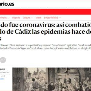 Captura del artículo de elDiario.es sobre Las luchas contra las epidemias en Ubrique en el siglo XIX.